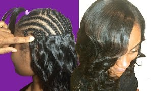 getlinkyoutube.com-How to Secret for Full Weave Sew In w/FLAT Invisible Wefts - No Glue