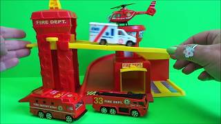 getlinkyoutube.com-VANCOUVER FIRE STATION CITY SET UNBOXING Inc. FIRE ENGINE, HELICOPTER,  AMBULANCE + EXPLOSIVE UNIT