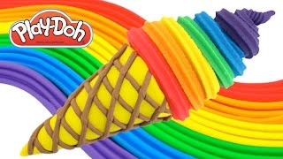 getlinkyoutube.com-Play-Doh How to Make a Waffle Cone with Rainbow Ice Cream * Creative Fun for Kids RainbowLearning