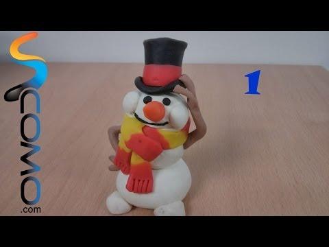 Hacer el cuerpo de plastilina de un muñeco de nieve (1/3) - Plasticine snowman