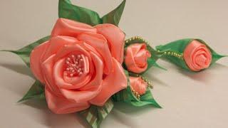 getlinkyoutube.com-Объемный цветок из атласной ленты Мастер-класс/Surround the flower of satin ribbon. Master class