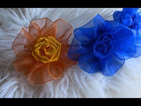 Flor com Fita de ORGANZA Passo a Passo- Kanzashi Flower, Ribbon Rose,Tutorial, DIY