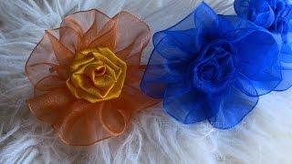 getlinkyoutube.com-Flor de  Fita de ORGANZA e cetim-  Ribbon Rose,Tutorial
