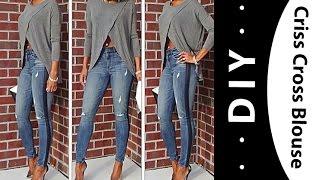 getlinkyoutube.com-DIY: Criss Cross blouse  (fall favorites)