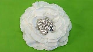getlinkyoutube.com-DIY Easy Fabric Flower, One strip of Fabric,  Tutorial, DIY