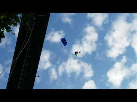Bridge Day 2016 Base Jumper Flies Into Rappel Ropes