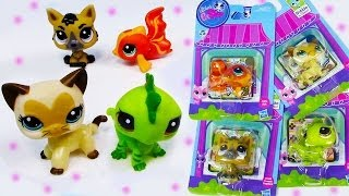 getlinkyoutube.com-LPS Bobblehead Littlest Pet Shop German Shepard Dog Kitty Cat Iguana Goldfish #3573 #3562