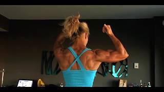 getlinkyoutube.com-Muscular Fitness Woman flexing her powerful steel ripped biceps