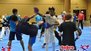 Taekwondo training.  Simple reaction time exercises.