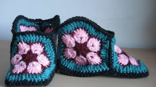 getlinkyoutube.com-how to crochet slippers free pattern tutorial
