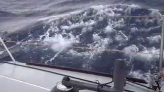 getlinkyoutube.com-heaving-to in mid-Atlantic, front wind force 7-8, 3m to 4.5m waves, south of azores islands