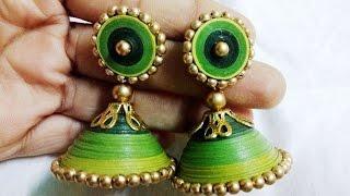 getlinkyoutube.com-quilling earrings jhumka making - How to make quilling earrings jhumk