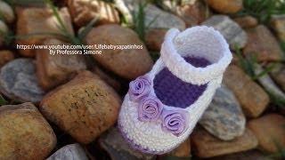 getlinkyoutube.com-Passo a passo Sapatinho de Crochê para Bebê modelo Daminha - Professora Simone