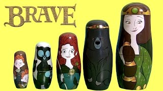 getlinkyoutube.com-Disney Pixar Brave Stacking Cups Surprise Merida Nesting Toys - Rebelle, Valiente, Ribelle, Valente
