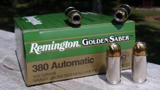 getlinkyoutube.com-AMMO TEST:  .380 ACP Remington Golden Saber 102 gr JHP
