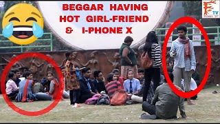 Beggar With i-PHONE X & Hot Girl-Friend ,Epic Reaction,Prank In India, FunkyTV