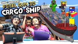 getlinkyoutube.com-Dad & Kids play PIXEL GUN 3D! Pt. 29 Cargo Ships & Inside the Code (Deathmatch & Team Battle)