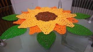 getlinkyoutube.com-🍃🌻hojas de girasol en crochet🌻🍃cetro de mesa