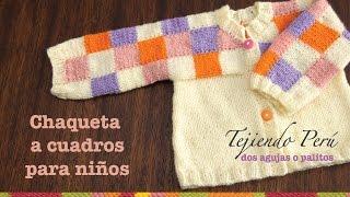 getlinkyoutube.com-Chaqueta para niñas con cuadrados de colores tejida en dos agujas (Parte 2)