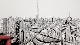 getlinkyoutube.com-How to Draw Dubai City in Perspective