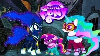 My Little Pony Transform into Power Ponies Princess Luna Celestia Cadance - Coloring Videos For Kids