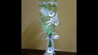 getlinkyoutube.com-Best Out of Waste Plastic Bottles and Can transformed to Decorative Glass Show piece