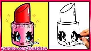 getlinkyoutube.com-How to Draw Cartoons - Cute Lipstick - Makeup & Cosmetics Tutorial Fun2draw Art