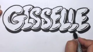 getlinkyoutube.com-How to Draw Graffiti Letters Write Gisselle in Bubble Letters