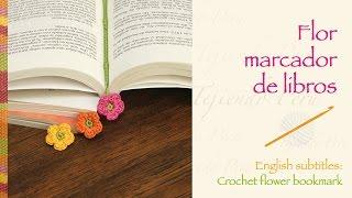 getlinkyoutube.com-Flor pequeñita como marcador de libro tejida a crochet / Crochet flower bookmark