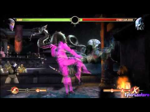 MK9 - Rain 84% Damage Combo, 3 Enhanced Bars Used (Wall Combo) - Mortal Kombat 9 (2011)