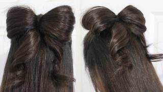 getlinkyoutube.com-Hair Bow Tutorial Hairstyle Half-Updo for Medium Long Hair