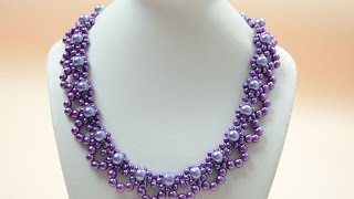 getlinkyoutube.com-PandaHall Jewelry Making Tutorial Video--How to Bead a Purple Pearl Lace Necklace for Brides