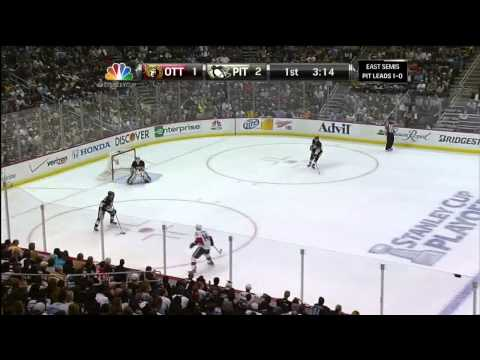 Sidney Crosby short side wrister 2-1. Hat trick May 17 2013 Ottawa Senators vs Pittsburgh Penguins