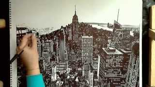 Realistic Drawing: Manhattan, New York