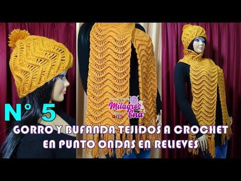 Gorro y Bufanda Tejido a crochet con el Punto Ondas en Relieves paso a paso