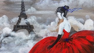 getlinkyoutube.com-Red Dress Eiffel Tower beginner Acrylic Painting class ANGELOONEY