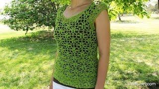 getlinkyoutube.com-Crochet a women's lace summer blouse
