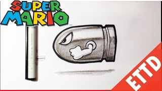 getlinkyoutube.com-How to Draw Bullet Bill from Super Mario Bros - Easy Things To Draw
