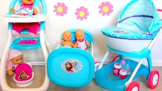 Best Baby Doll Nursery Set-Disney Frozen Rocking Bed Highchair Dolls Pram Baby Annabell PlayToys