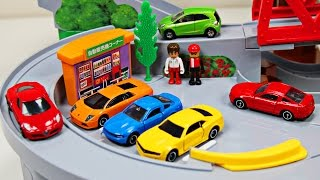 getlinkyoutube.com-Best Toddler Learning Cars Trucks Colors for Kids #1 Teaching Colours Tomica Mountain Drive