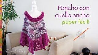 getlinkyoutube.com-Poncho con cuello ancho tejido a crochet súper fácil!