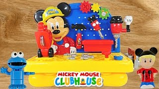 getlinkyoutube.com-Mickey Mouse Clubhouse Handy Helper Workbench Disney Junior Tools Playdoh Cookie Monster