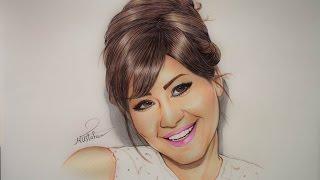 رسم الفنانة شيرين عبد الوهاب بأقلام الجاف