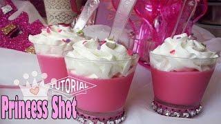 Shots dulces rosado motivo de princesas para candy bar