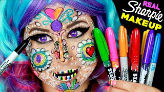 getlinkyoutube.com-Full Face Using ONLY Sharpie Markers! | I Doodles On Face With Permanent Sharpies! *CAUTION*