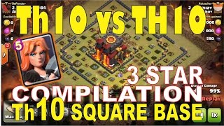 3 Star compilation Th10 ring/square base Valkyrie War attack strategy