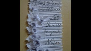 getlinkyoutube.com-Best Out Of Waste Paper Lovely White Roses and Quote Wall Hanging