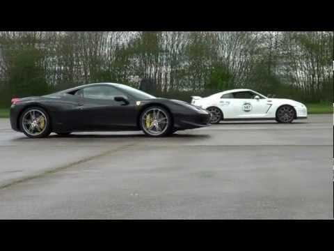 Ferrari 458 v Nissan GTR | 1 mile drag race