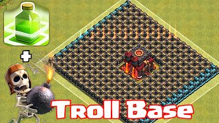 "getlinkyoutube.com-Clash Of Clans ""CHAMP TROLL BASE"" (Wallbreakers and jump spells)"