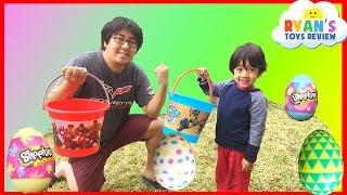 getlinkyoutube.com-Easter Eggs Hunt Surprise Toys Challenge Water Balloons Fight Shopkins Disney Cars Toys Paw Patrol